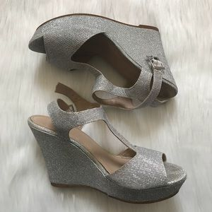 Rampage Silver Glitter Wedges